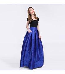 blue a-line ruffle maxi skirt women taffeta high waist maxi skirt with pockets