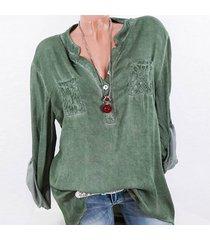 zanzea la manera tapas del cordón del remiendo botones de la camisa de manga larga de las mujeres blusa ocasional verde -verde