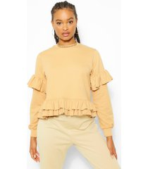 double frill hem sweater, stone