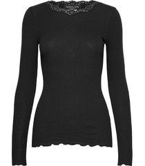 organic t-shirt w/lace t-shirts & tops long-sleeved svart rosemunde