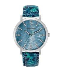 tommy bahama women's island fronds swarovski crystal leather watch, 40mm