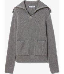 proenza schouler white label chunky rib knit jumper grey mouline l