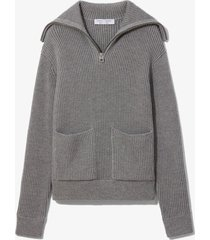 proenza schouler white label chunky rib half zip knit cardigan grey mouline l