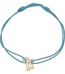 aliita 9kt yellow gold familia cord bracelet - blue