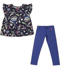 conjunto 2 peças - bata floral + legging denim feminino