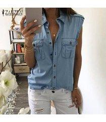 zanzea solapa mujeres tapas de la camisa botones en dril de algodón azul tapas del tanque ocasionales de la blusa del tamaño extra grande -azul claro