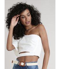 blusa feminina um ombro só com linho e vazado manga curta off white