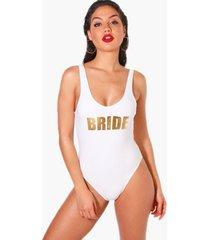 badpak met diepe ronde rug en slogan bride, wit