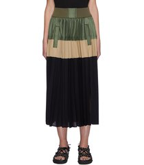 pleated colour block midi skirt