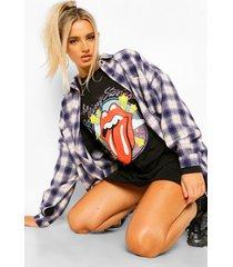 gelicenseerd rolling stones t-shirtjurk met lange mouwen, black
