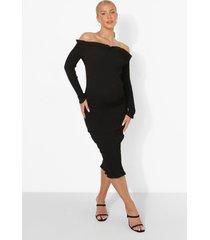zwangerschap geplooide midi jurk met uitgesneden hals, black