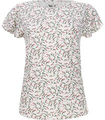 camiseta mujer print miniflores color blanco, talla l