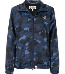 a bathing ape® camo track jacket - blue