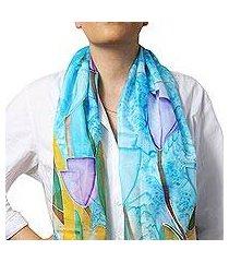 hand painted silk batik scarf, 'treasured tulips' (armenia)