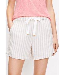 loft drawstring pull on shorts in striped linen blend