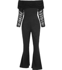 off shoulder mesh panel ruched jumpsuit