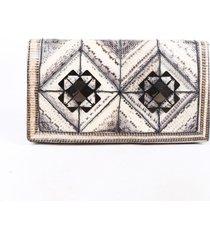 salvatore ferragamo gray white snakeskin clutch bag white/gray sz: s