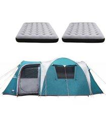barraca camping nautika arizona gt 9/10 pessoas + 2 colchões casal inflável fit ecologic