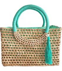 bolsa sacola em palha de carnaúba artestore média verde água