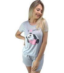 "pijama feminino """"i love panda"""" cinza"