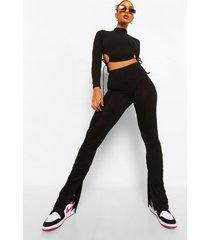 geplooide leggings met split, zwart