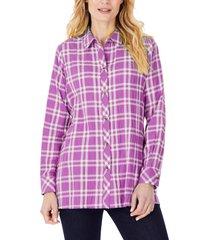 women's foxcroft santino plaid button-up tunic shirt, size 14 - purple
