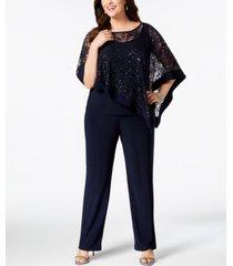r & m richards plus size sequined lace pantsuit