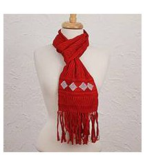 cotton scarf, 'crimson mystery' (mexico)