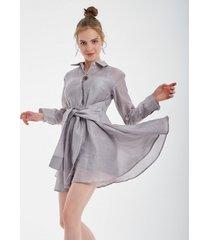 sukienka srebrno-szara