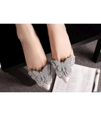 pp447cutie sequined butterfly pumps, size 4-8.5, gray
