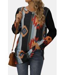 camicetta a maniche lunghe con scollo a o con stampa patchwork a righe plus camicetta da donna