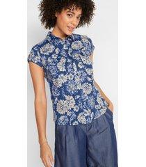 gedessineerde blouse, korte mouw