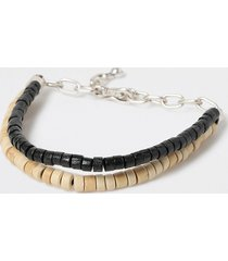 river island mens black wood bead double layer bracelet