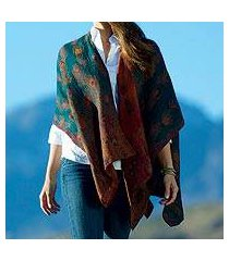 wool shawl, 'peacock pride' (india)