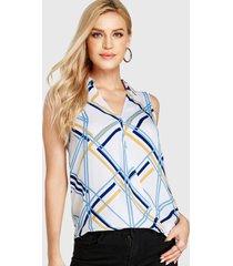 camiseta sin mangas con cuello en v y rejilla multicolor yoins