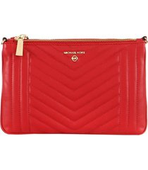 michael kors double pouch bright red crossbody bag