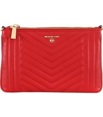 michael kors bright red double pouch crossbody bag