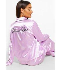 brunch club geborduurde satijnen pyjama set, lila