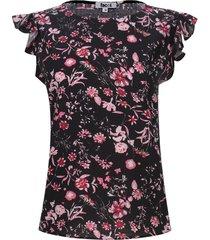 blusa m/c arandelas flores color negro, talla xs