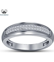 1.22 ct sim diamond round cut 14k white gold plated 925 silver women's band ring
