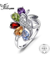 anillo de cóctel jewelrypalace amatista genuino 925 plata esterlina