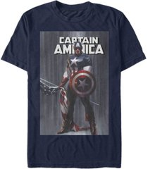 marvel men's comic collection captain america with standing flag short sleeve t-shirt