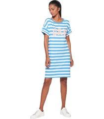 vestido blanco-azul-rosa gap