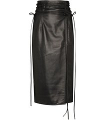 16arlington tie-fastening detail pencil skirt - black
