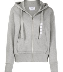 thom browne zip up hoodie in compact double knit cotton with 4 bar