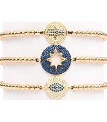 eye candy la women's luxe goldtone titanium & cubic zirconia 3-piece bracelet set