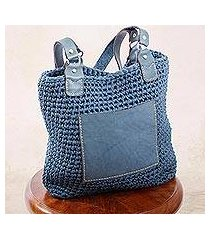 leather-accented crocheted shoulder bag, 'costa azul' (mexico)