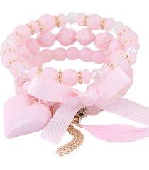 pulsera rosa corazon, cinta sasmon pu-11262