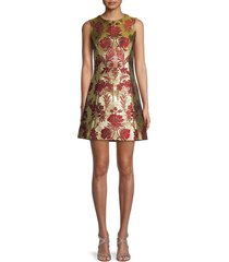 dolce & gabbana women's contrast jacquard fit & flare dress - jacquard - size 42 (8)