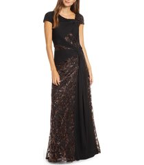 women's tadashi shoji pintuck wrapped embroidered lace gown, size 12 - brown